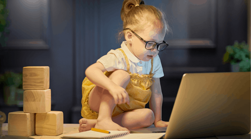 image showing young girl using a computer