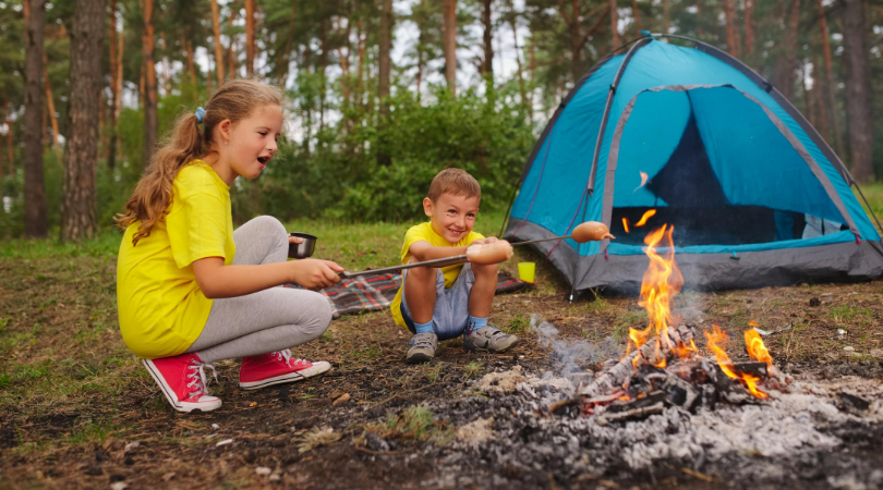 kids enjoying camping